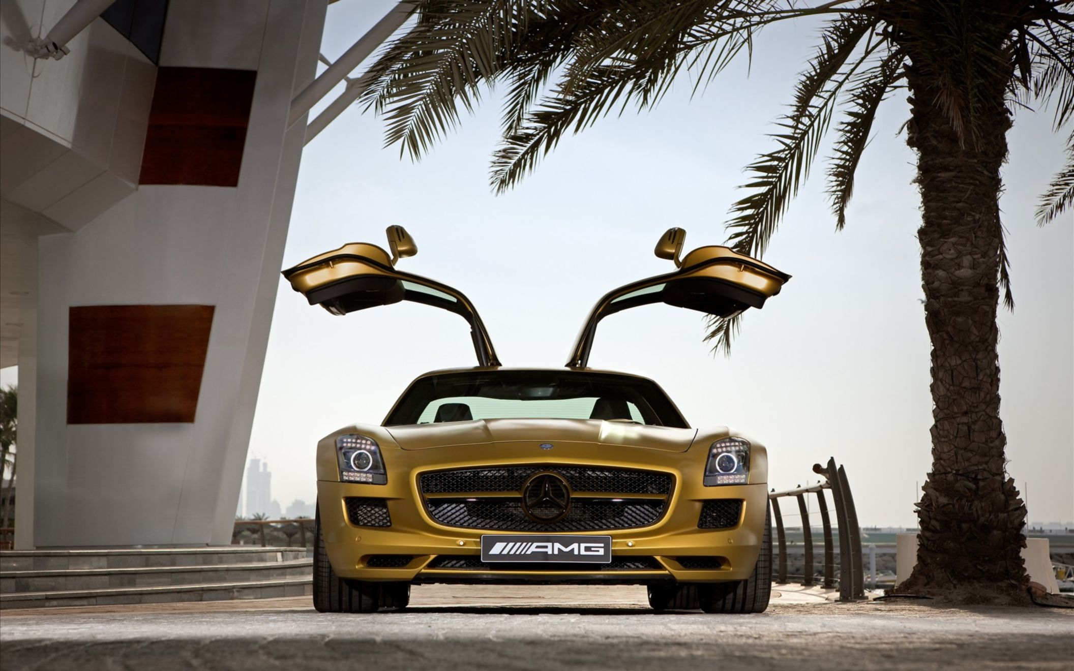 Download free HD 2010 Mercedes Benz Sls Amg Desert Gold 2 Wide Wallpaper, image