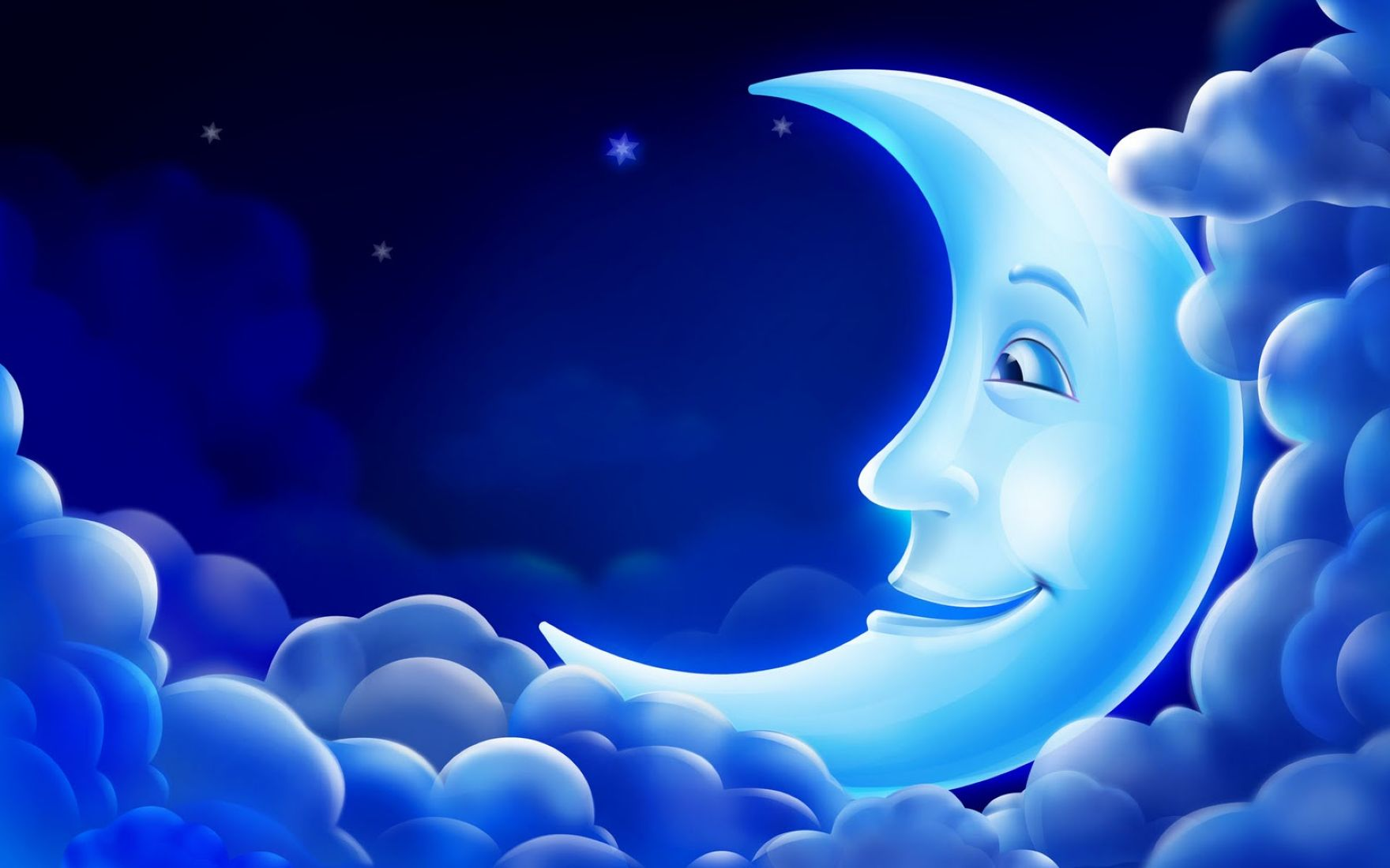 3D Blue Moon Background for Computer Wallpaper