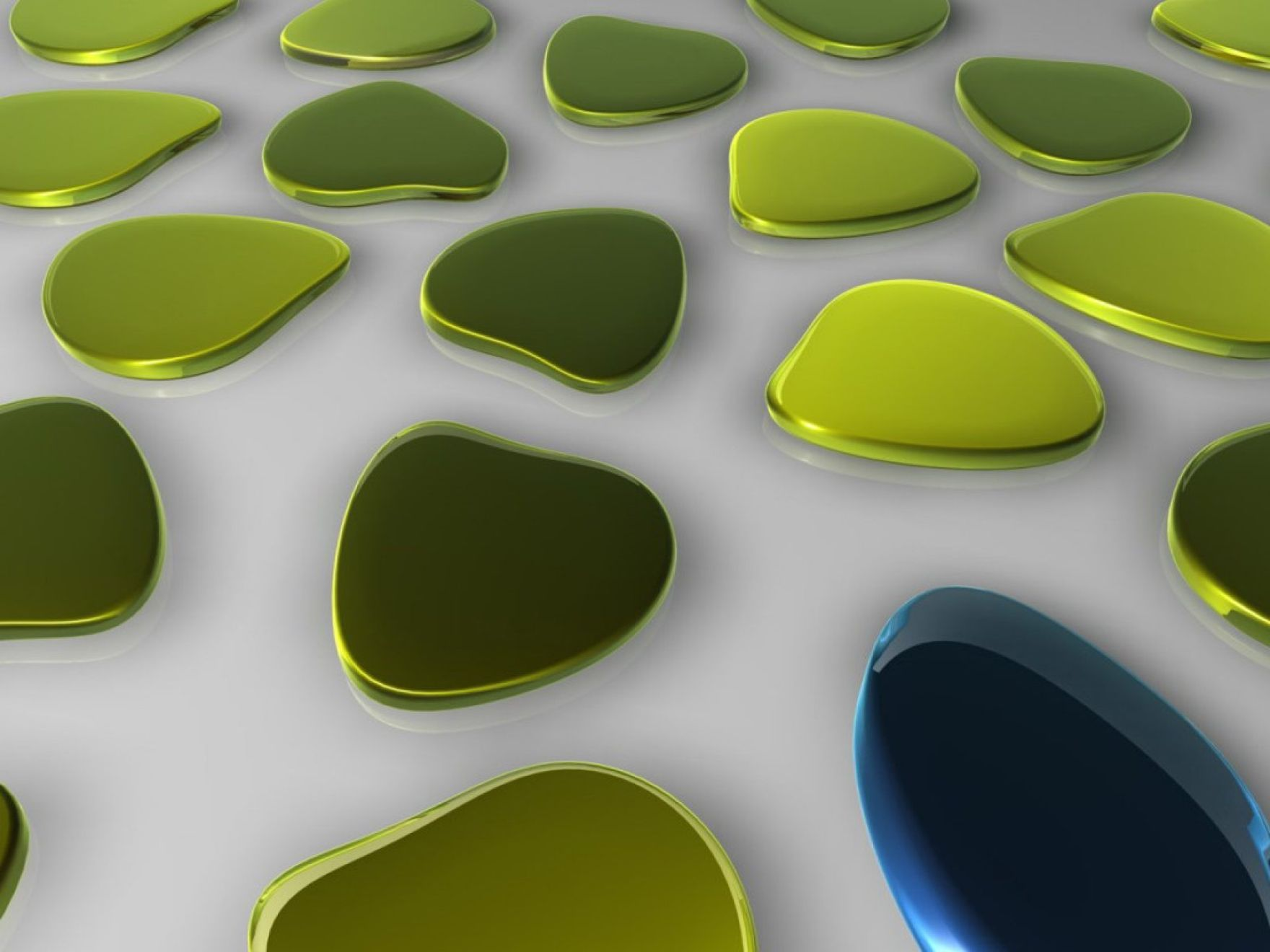 Download free HD 3D Green Blobs Art Desktop Wallpaper, image