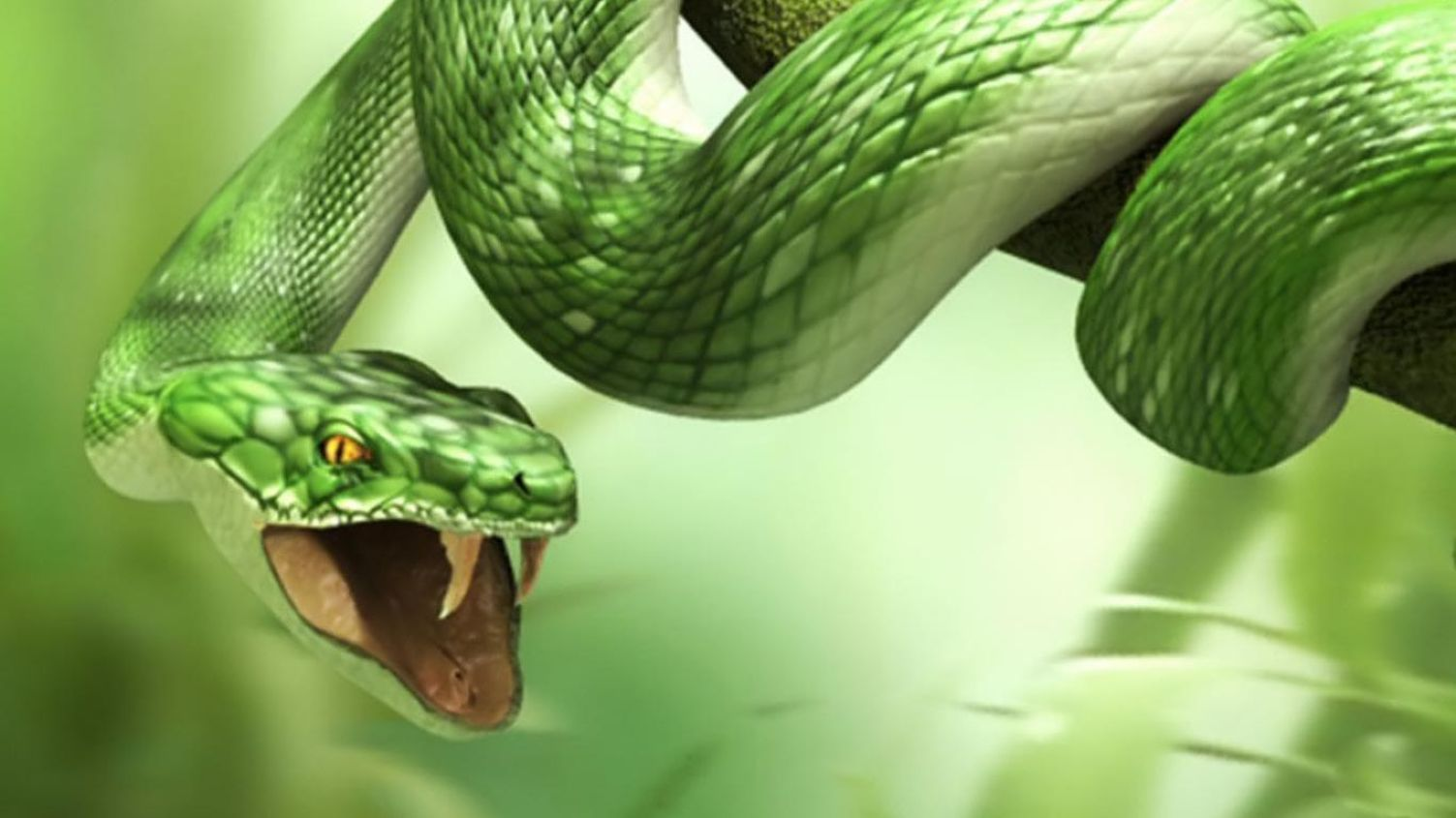 3D Snake HD for Laptop 1366×768 Wallpaper