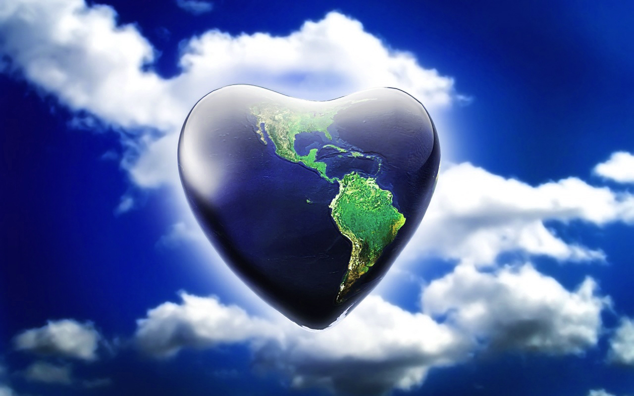 3D Background Love Globe Wallpaper