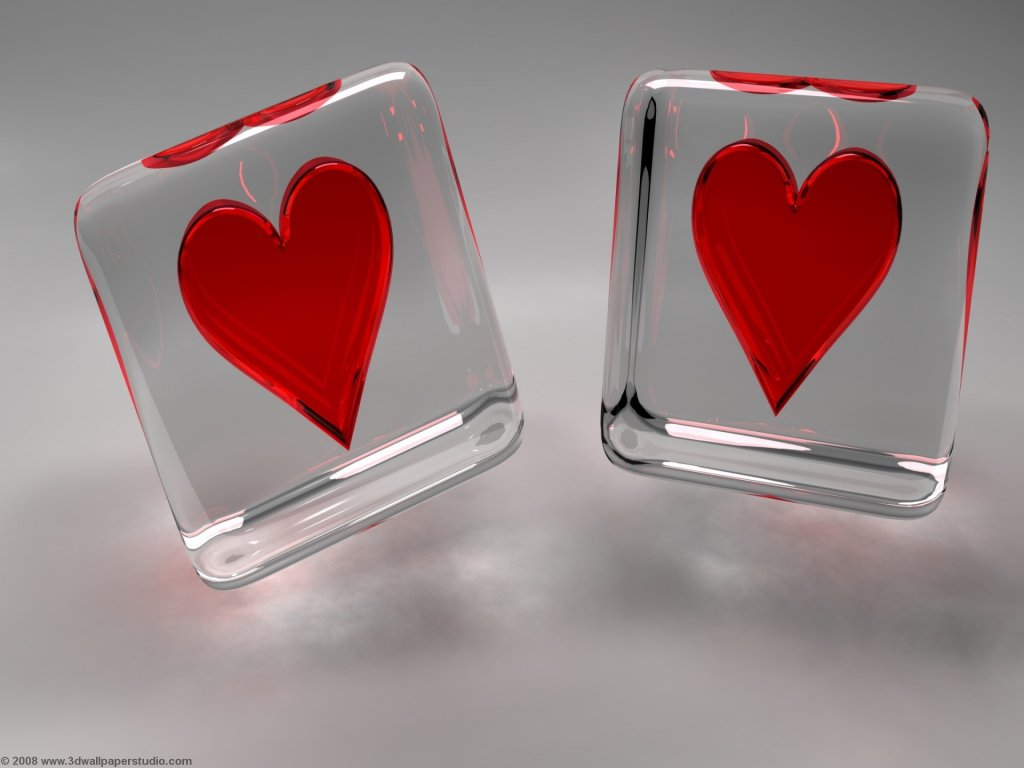 3D Cube Valentine Hearts Wallpaper