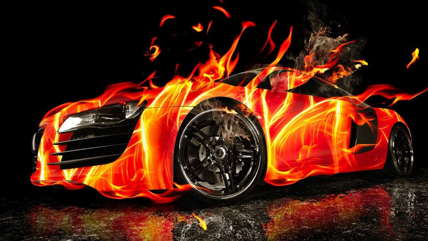 3D HD Car Fire Wallpaper: Desktop HD Wallpaper
