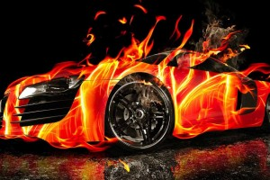 3D HD Car Fire Wallpaper