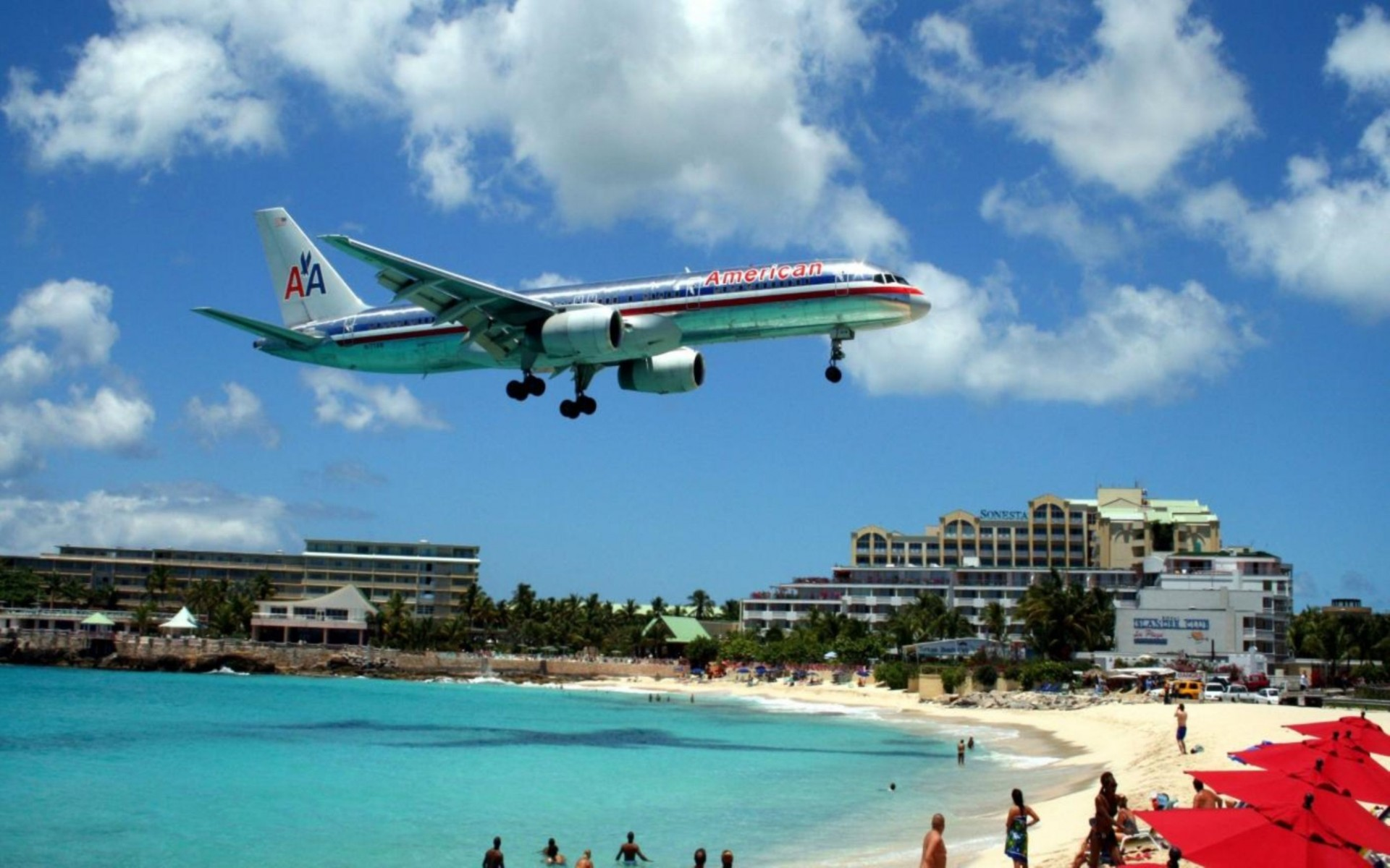 Aircraft Over Beach Wallpaper