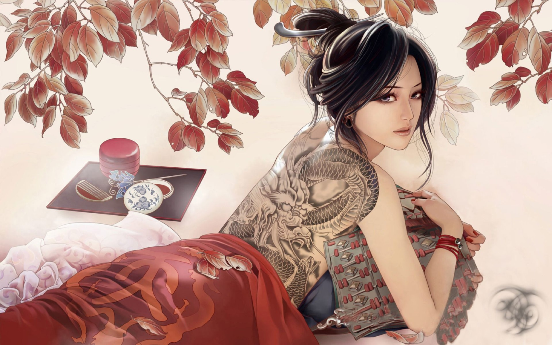 Anime Girl Tattoos Desktop Wallpaper