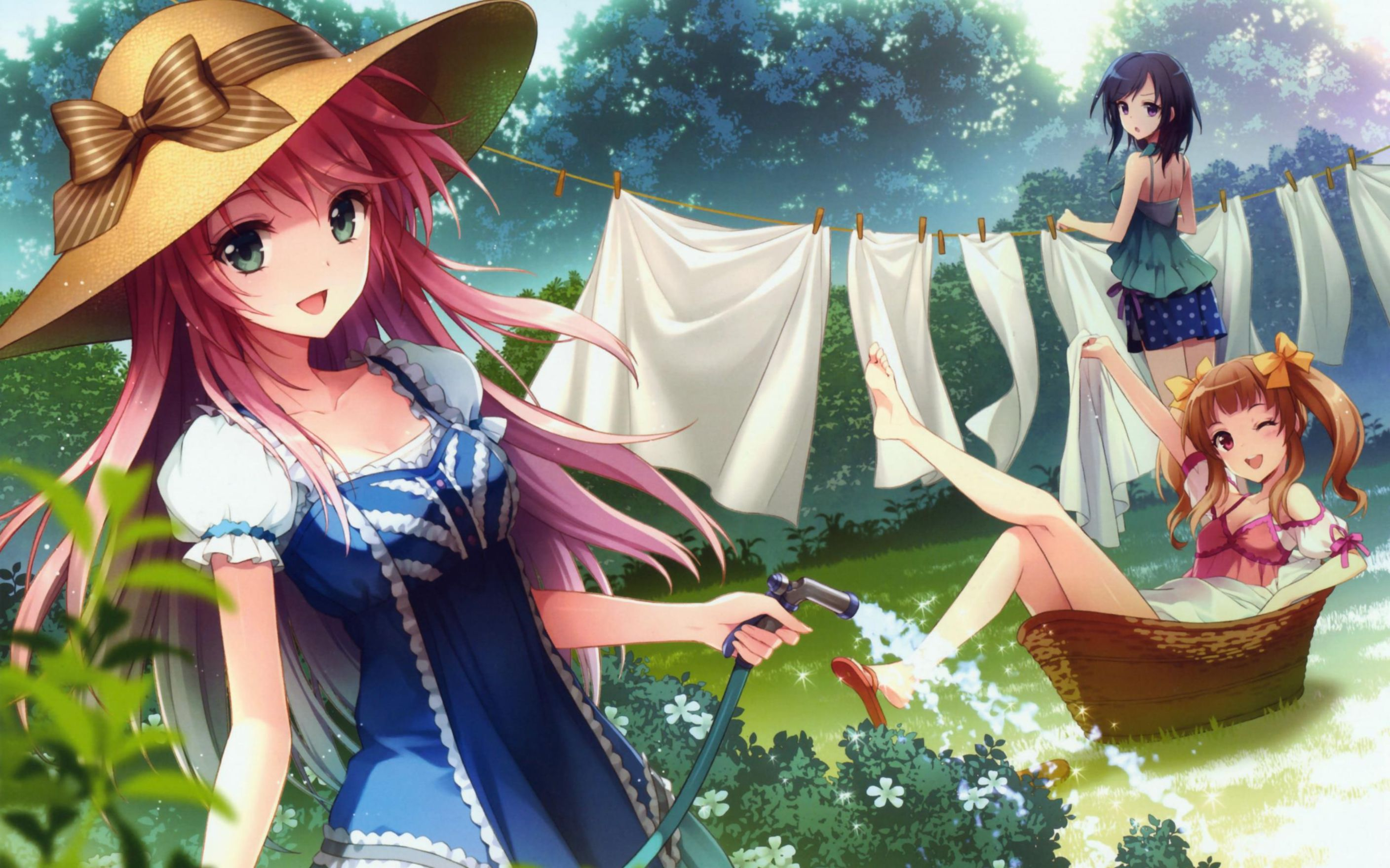 Download free HD Anime Girl Washing Clothes Wallpaper, image