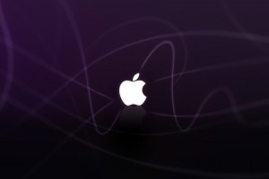 Apple Logo Purple Waves Wide Wallpaper