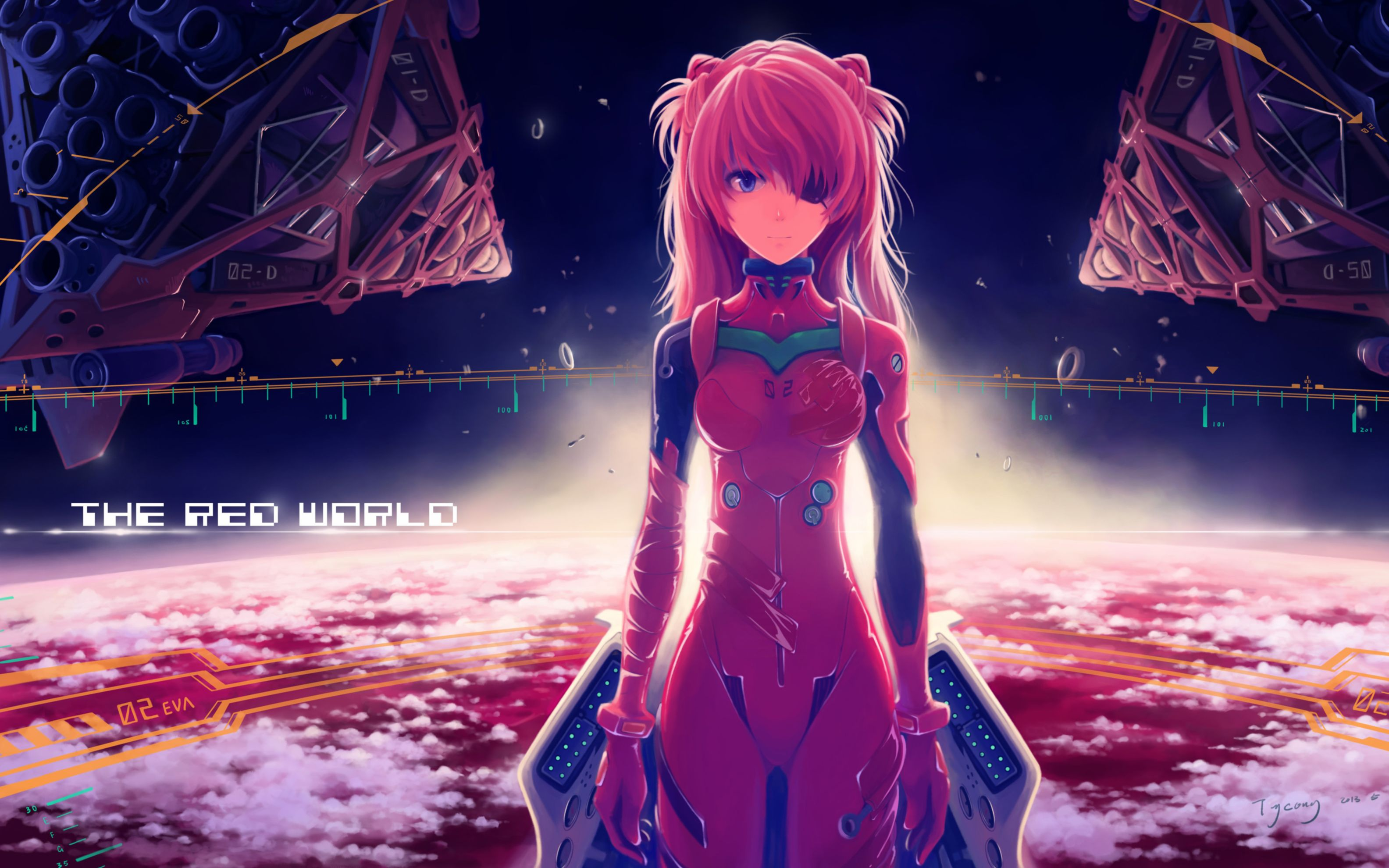 Download free HD Asuka Langley Soryu Anime Girl Wide Wallpaper, image