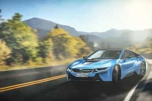 BMW I8 Blue Wide Wallpaper