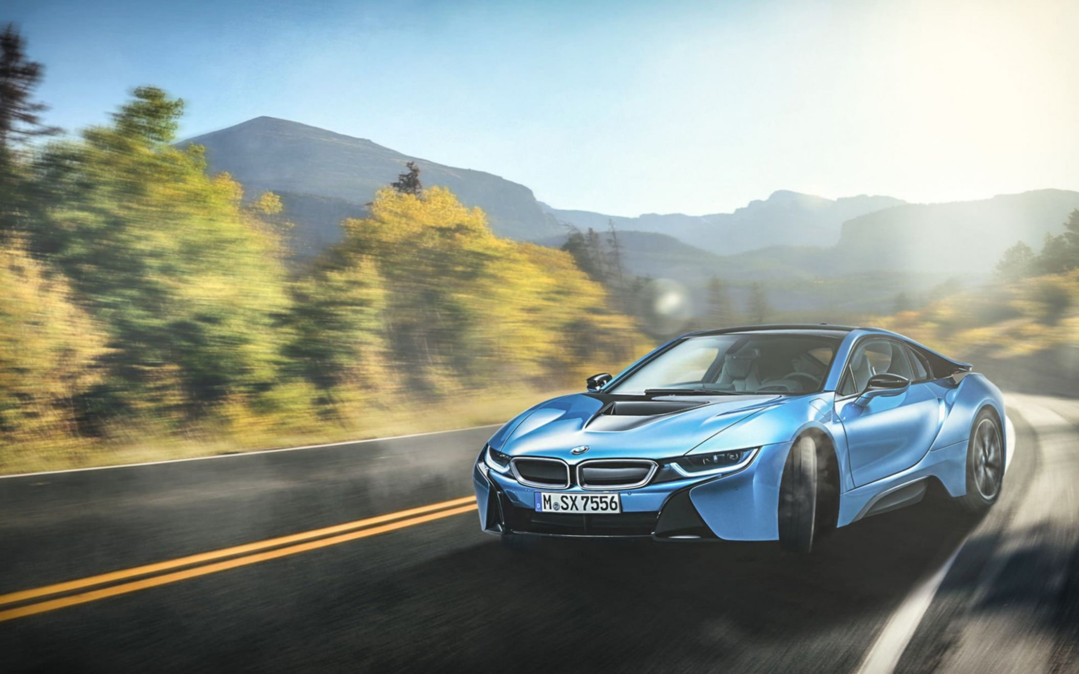 Download free HD BMW I8 Blue Wide Wallpaper, image