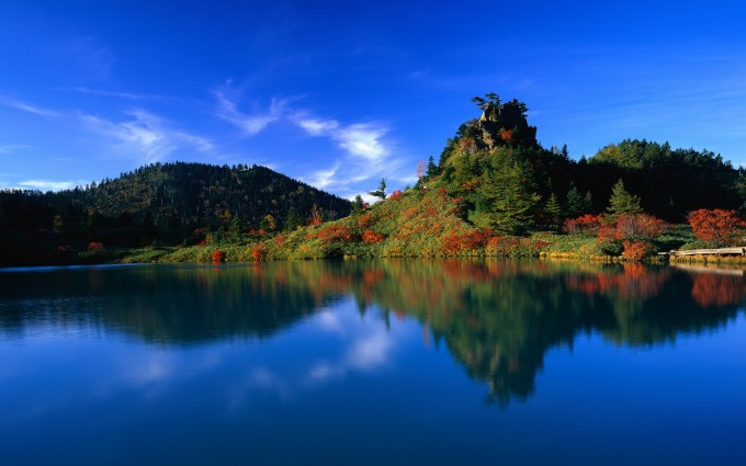 Blue Sky Blue Water Green Hill Wallpaper