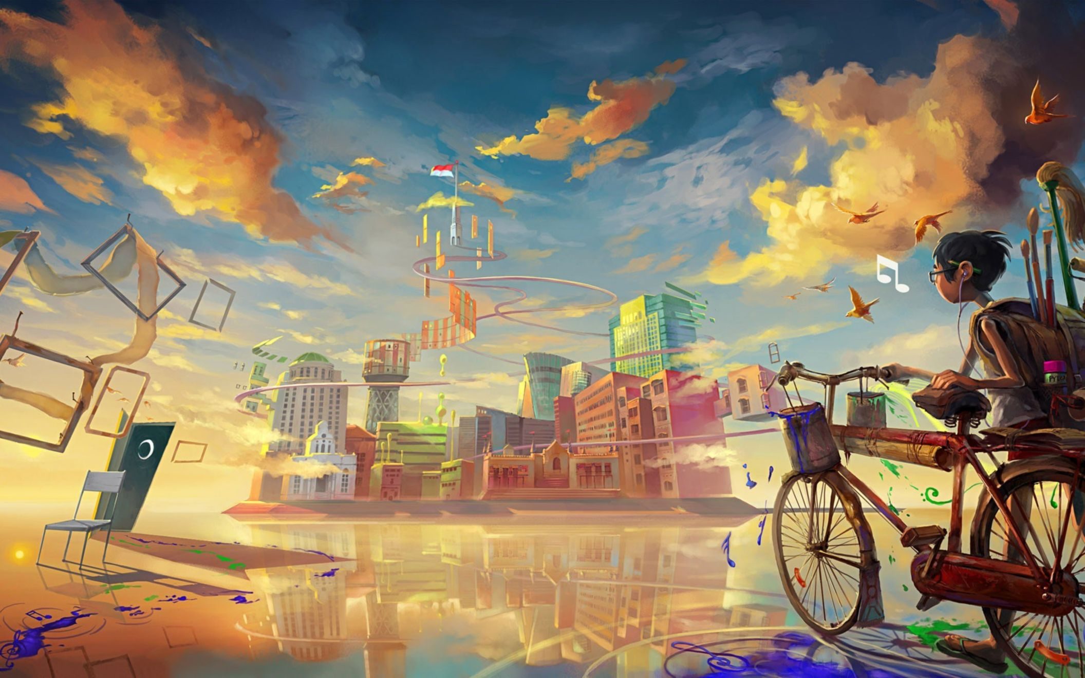 Download free HD Boy Bicycle Art Paint 1920×1200 Wallpaper, image
