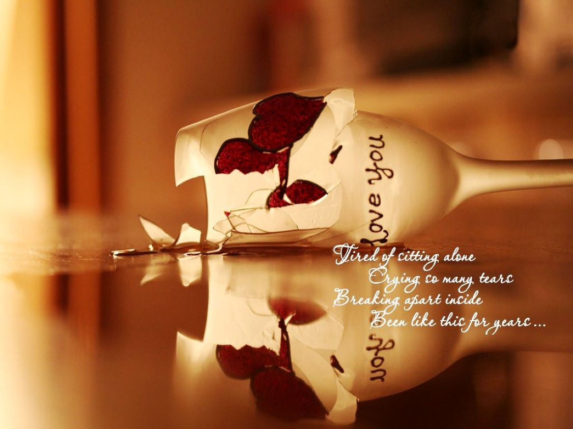 Broken Heart Glass HD Images With Quotes Wallpaper