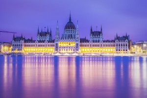 Budapest Parliament Building In Magents Wallpaper