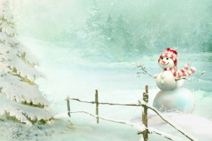 Christmas Snowman Wide Wallpaper