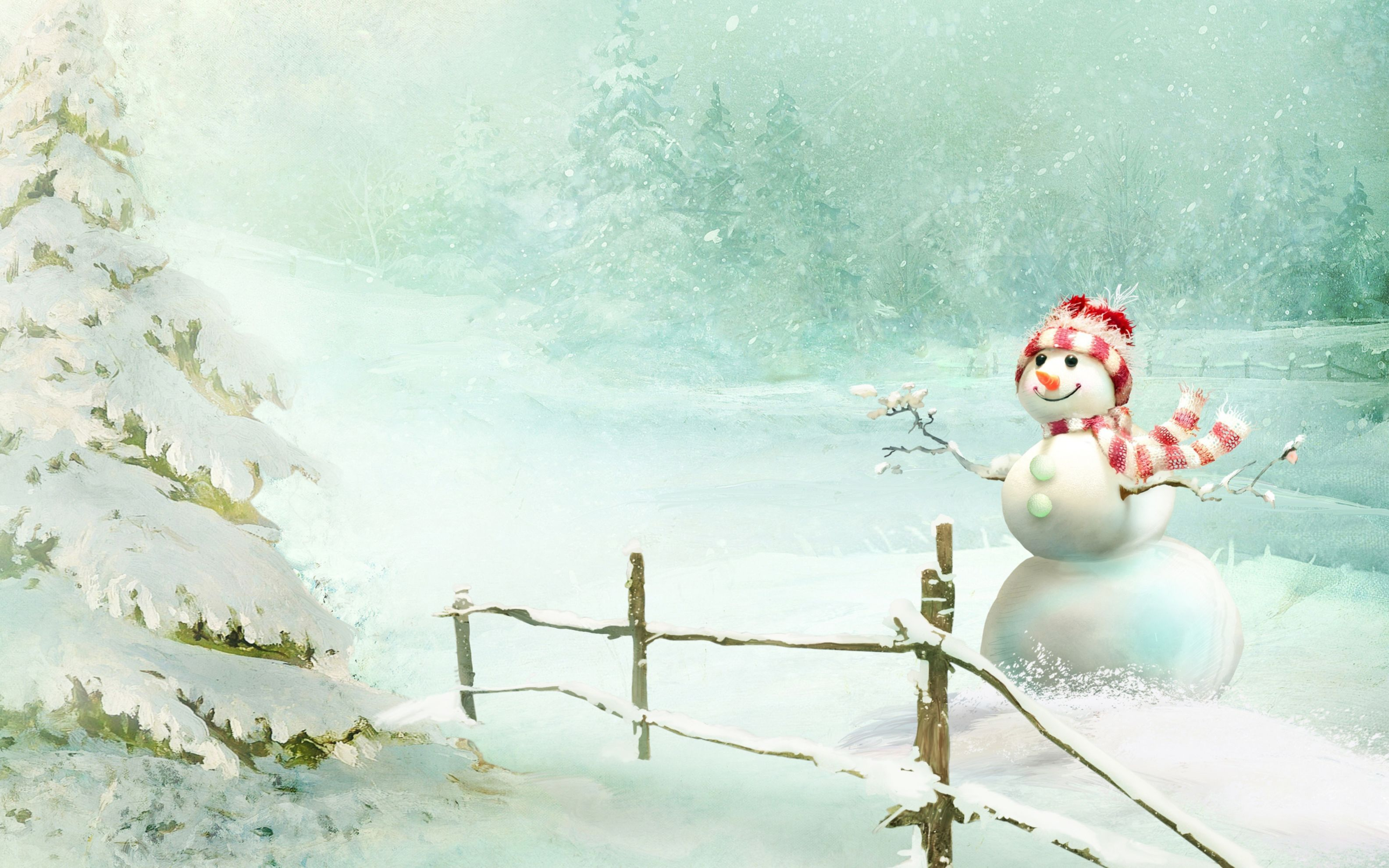 Download free HD Christmas Snowman Wide Wallpaper, image