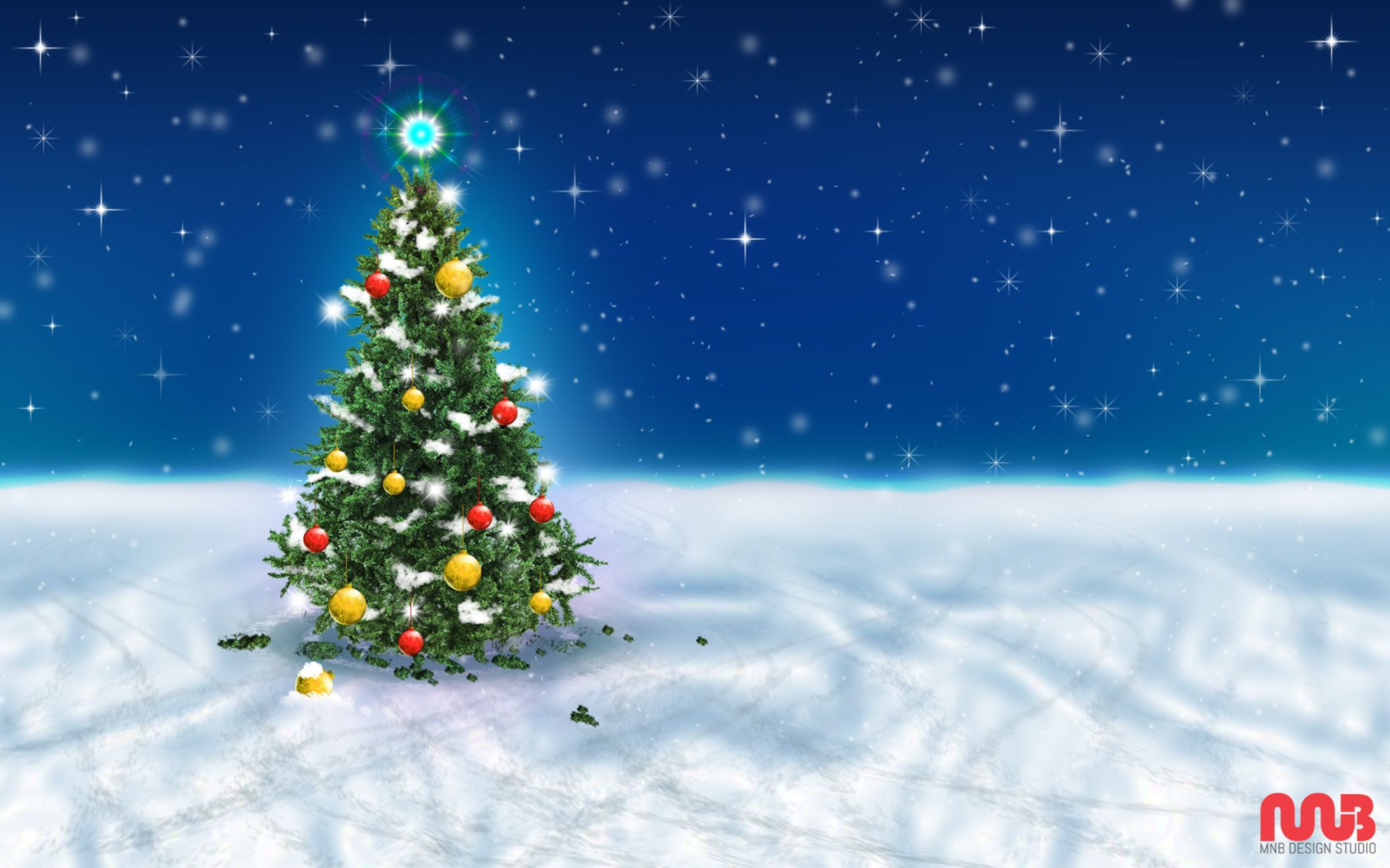 christmas tree snow sky wide wallpaper: desktop hd wallpaper