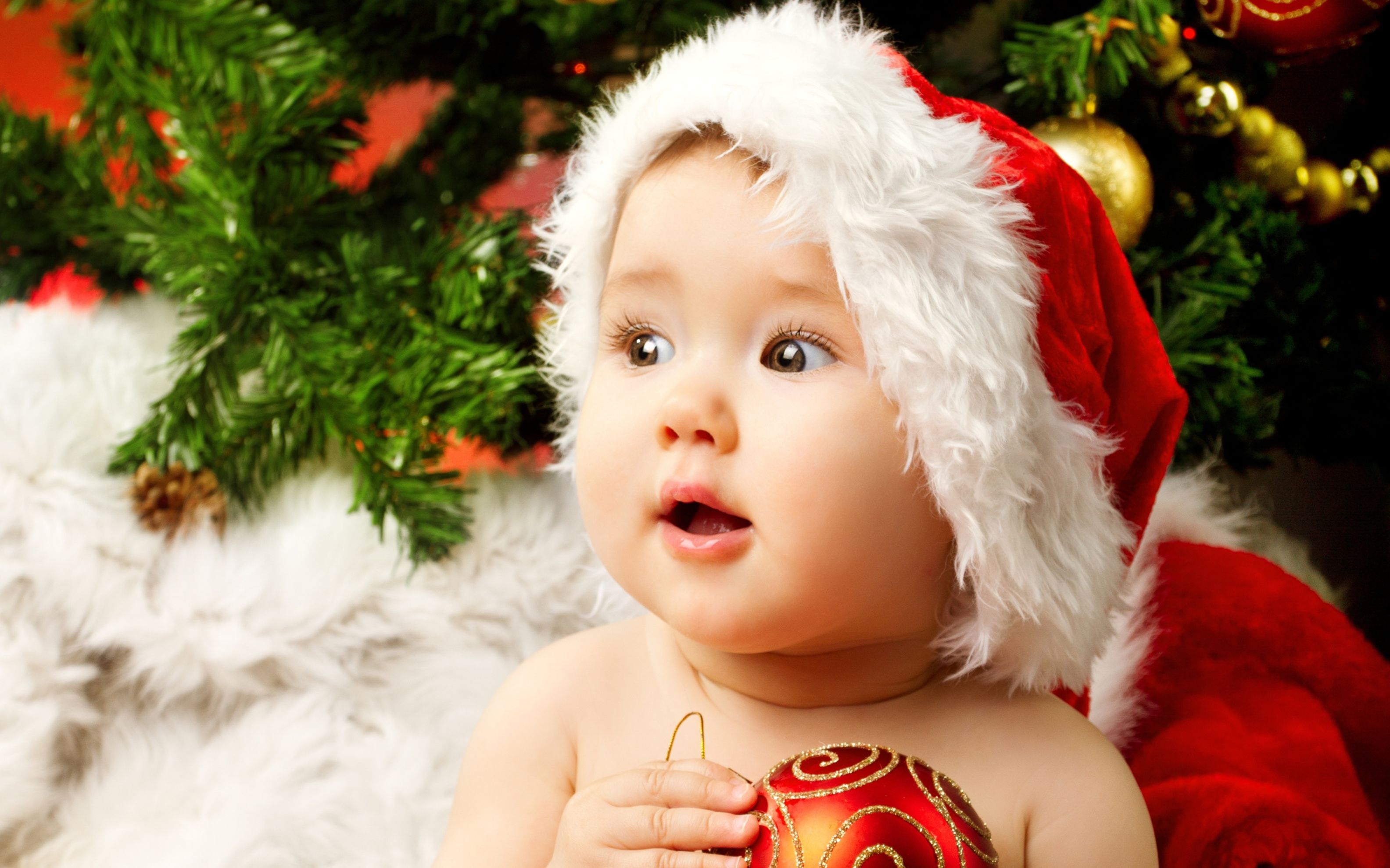 Download free HD Cute Adorable Baby Santa Wide Wallpaper, image