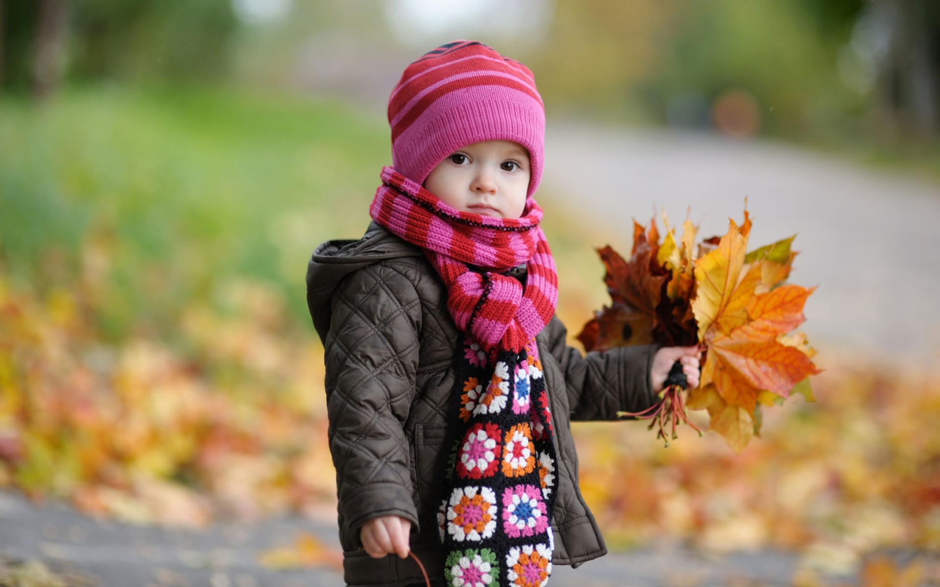 Cute Baby In Autumn Wide Wallpaper