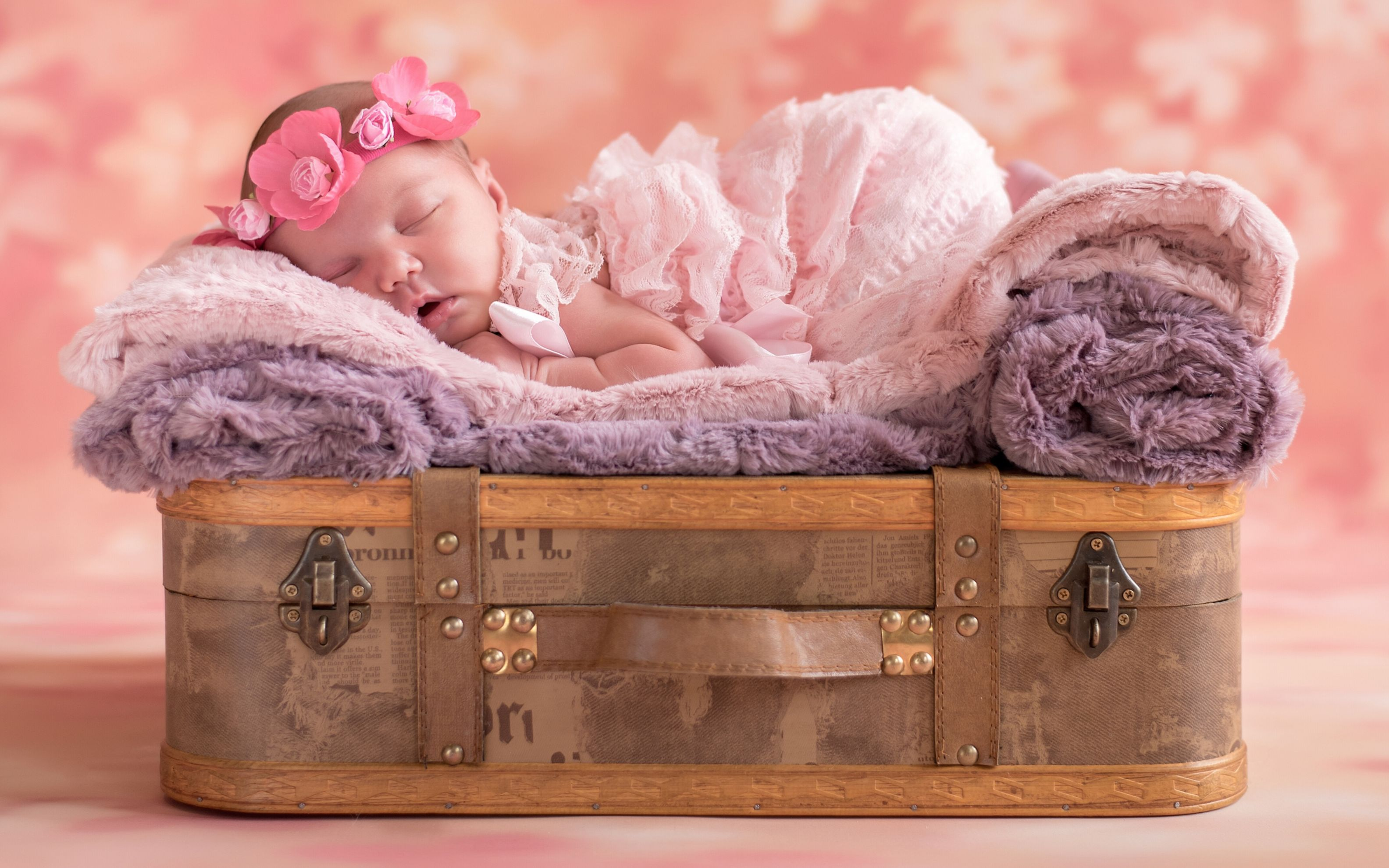 Download free HD Cute Baby Sleep Wide Wallpaper, image
