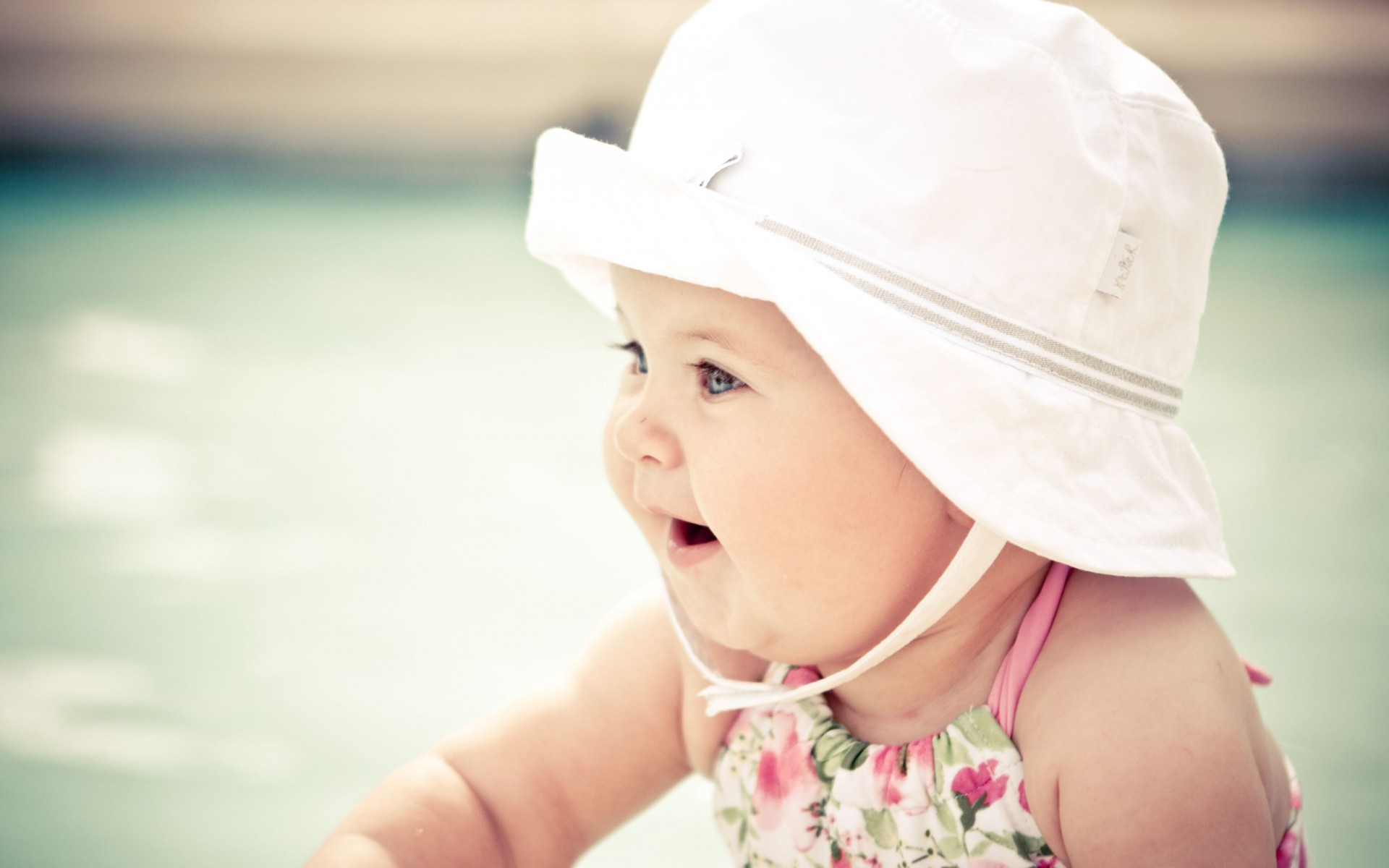 Cute Baby With Hat Wide Wallpaper