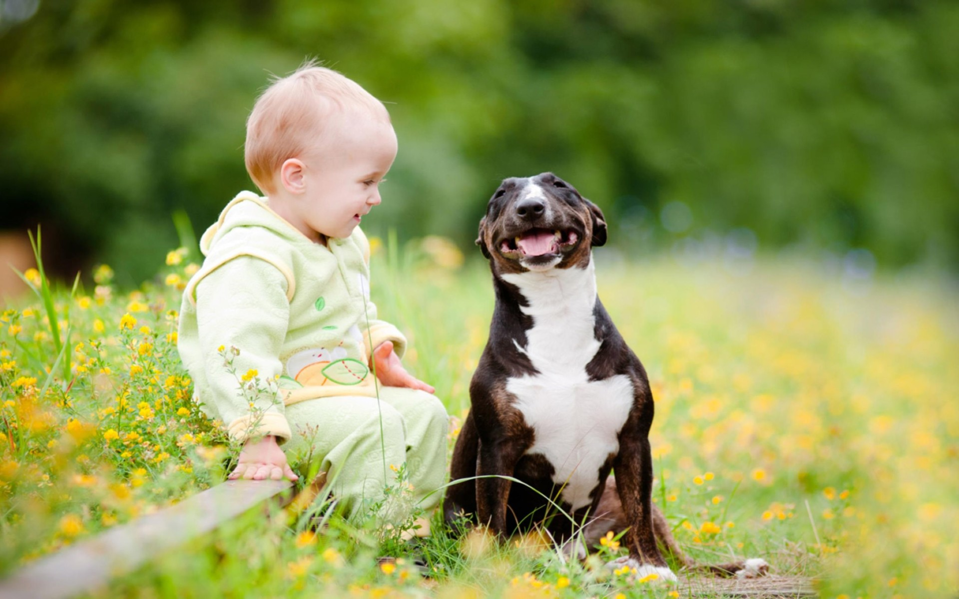 Cute Image of A Small Child And Puppy Wallpaper
