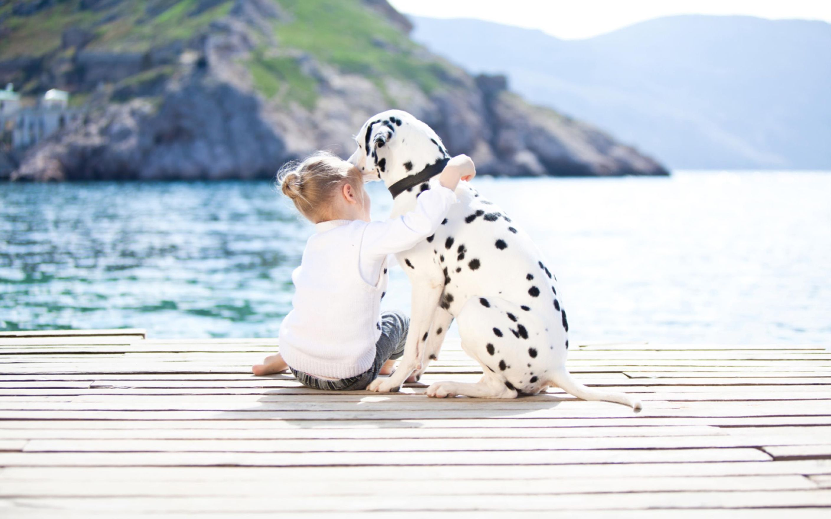 Cute Of A Girl And Dalmatian Dog Wallpaper