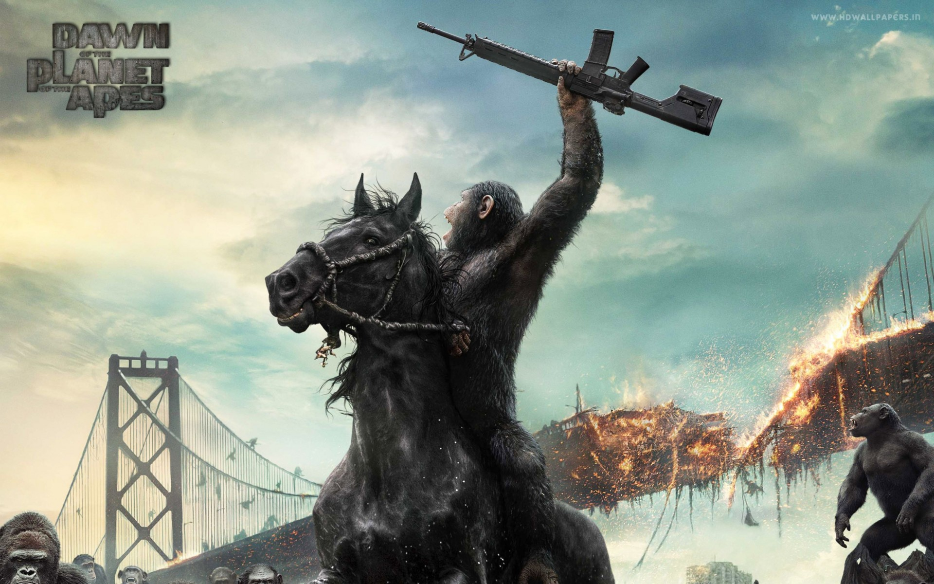 Dawn of The Planet of The Apes Movie Wide Wallpaper