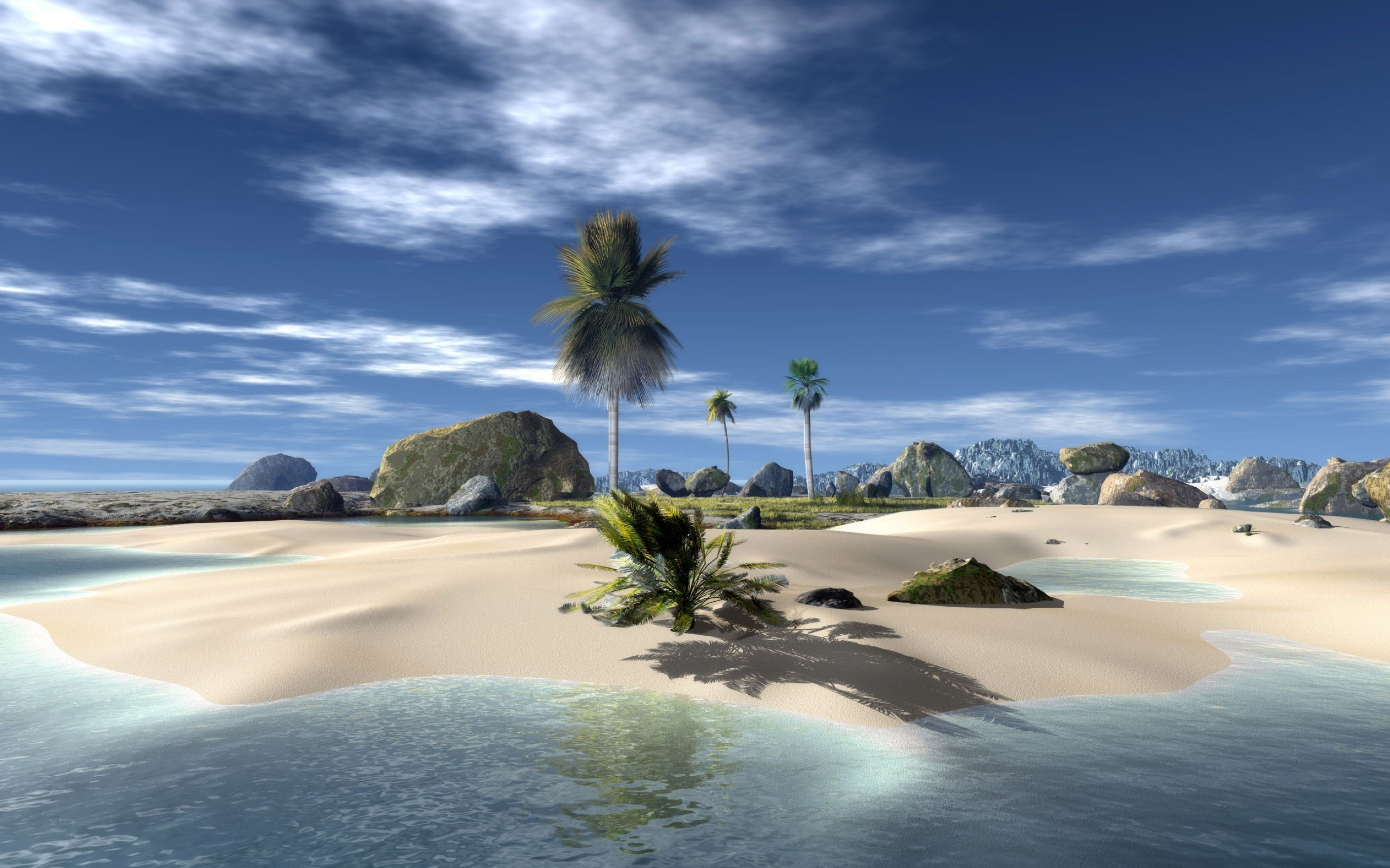 Download free HD Download Beach Nature Background 3D Wallpaper, image