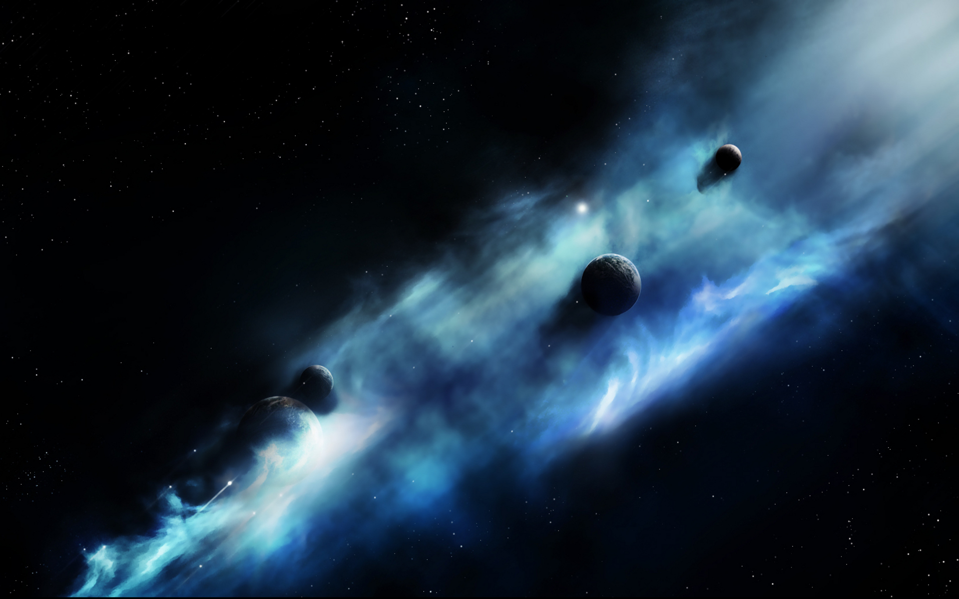 3D Space Black Dark Wallpaper
