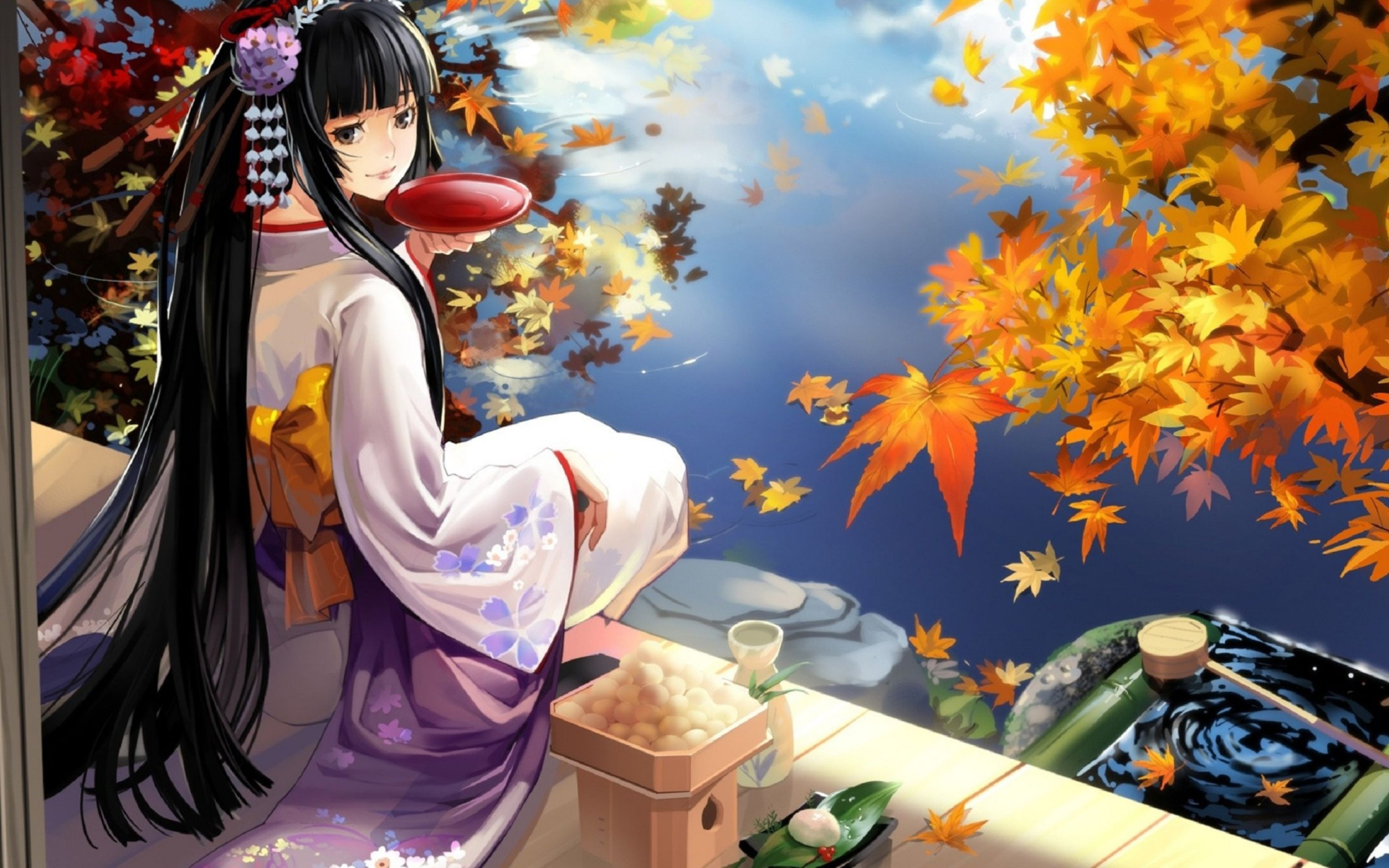 Download free HD Geisha Anime With Food Wallpaper, image