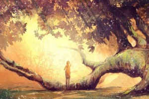 Download Girl Alone Fantasy Art Tree  Wallpaper Free Wallpaper on dailyhdwallpaper.com
