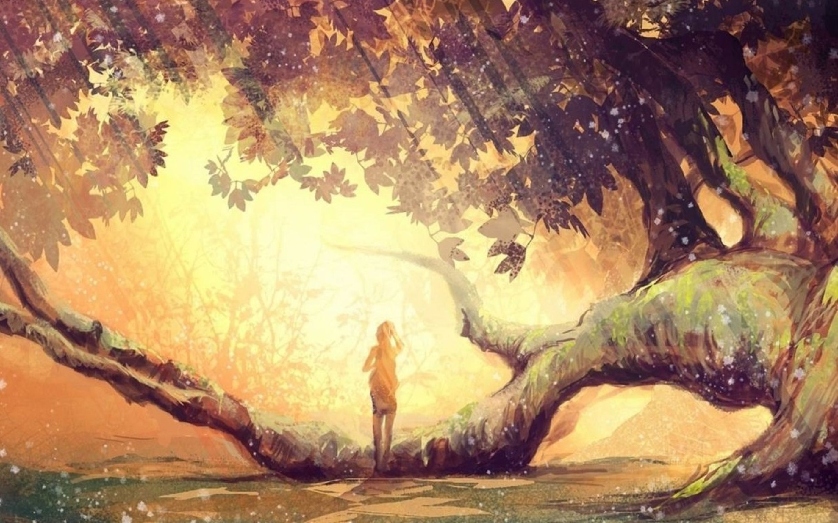 Girl alone fantasy art tree wallpaper