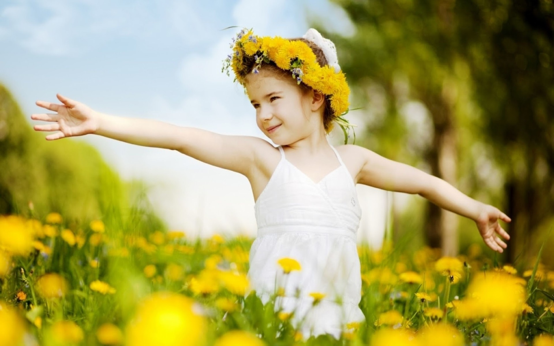 Girl Dancing In Field Of Yellow Flowers Wallpaper