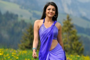 Download Kajal Agarwal In Blue Saree Wallpaper Free Wallpaper on dailyhdwallpaper.com
