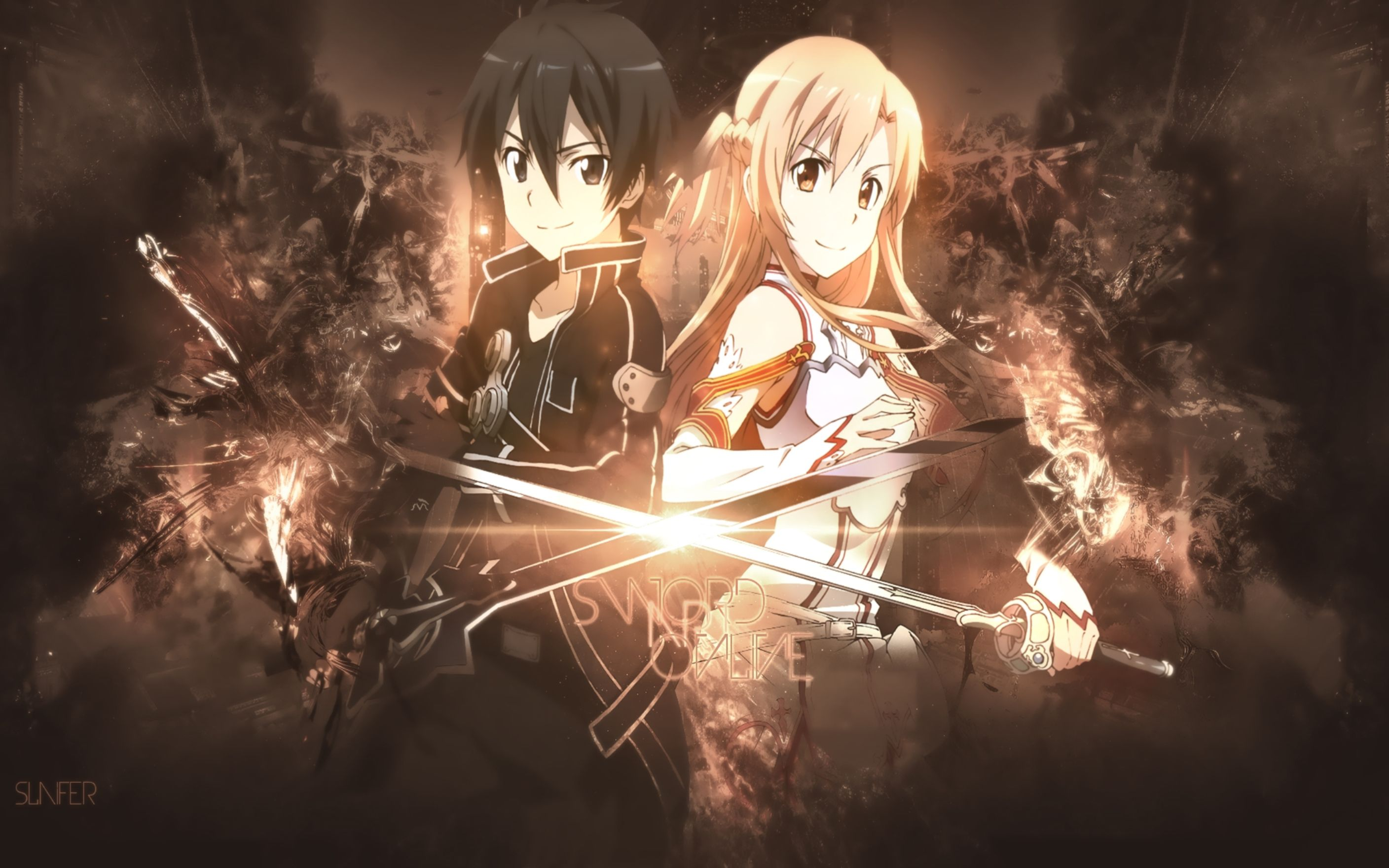 Download free HD Kirito Asuna Back To Back Wallpaper, image