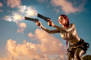 Lara Croft Cosplay Wide Wallpaper