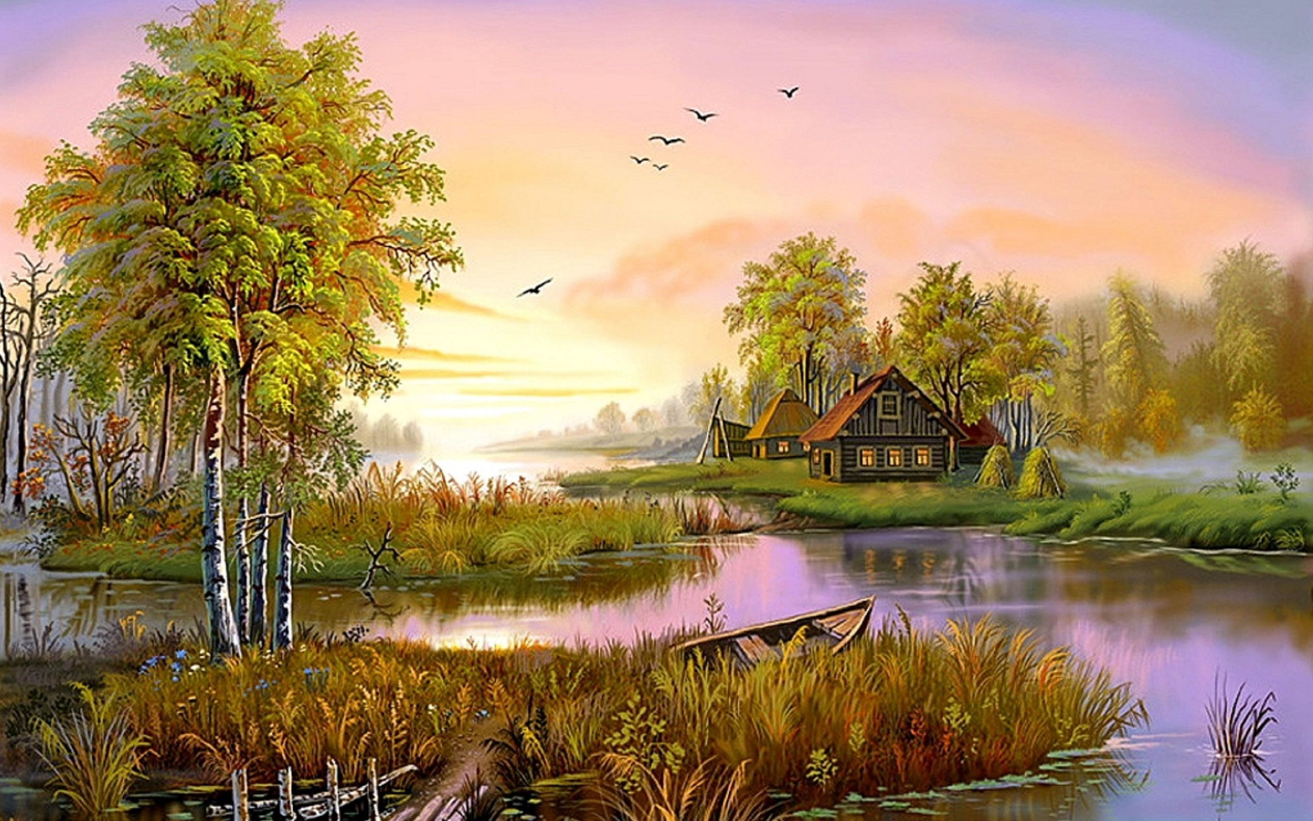 nature lovely hd wallpapers painting desktop artistic pretty background backgrounds wall landscape lake spring boat resolution dailyhdwallpaper tree definition