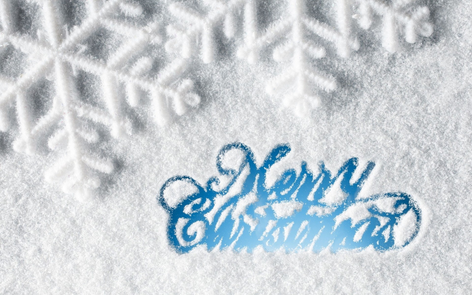 Merry Christmas Snow Wide Wallpaper