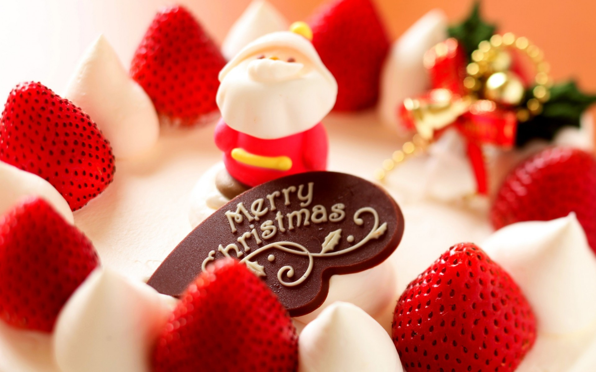 Merry Christmas Strawberry Dessert Wide Wallpaper