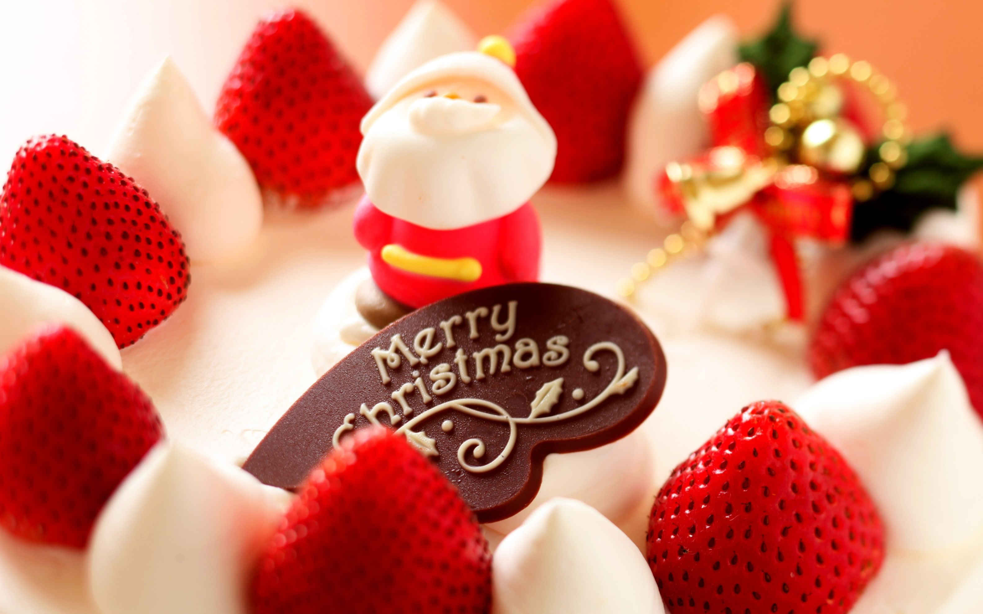 Download free HD Merry Christmas Strawberry Dessert Wide Wallpaper, image
