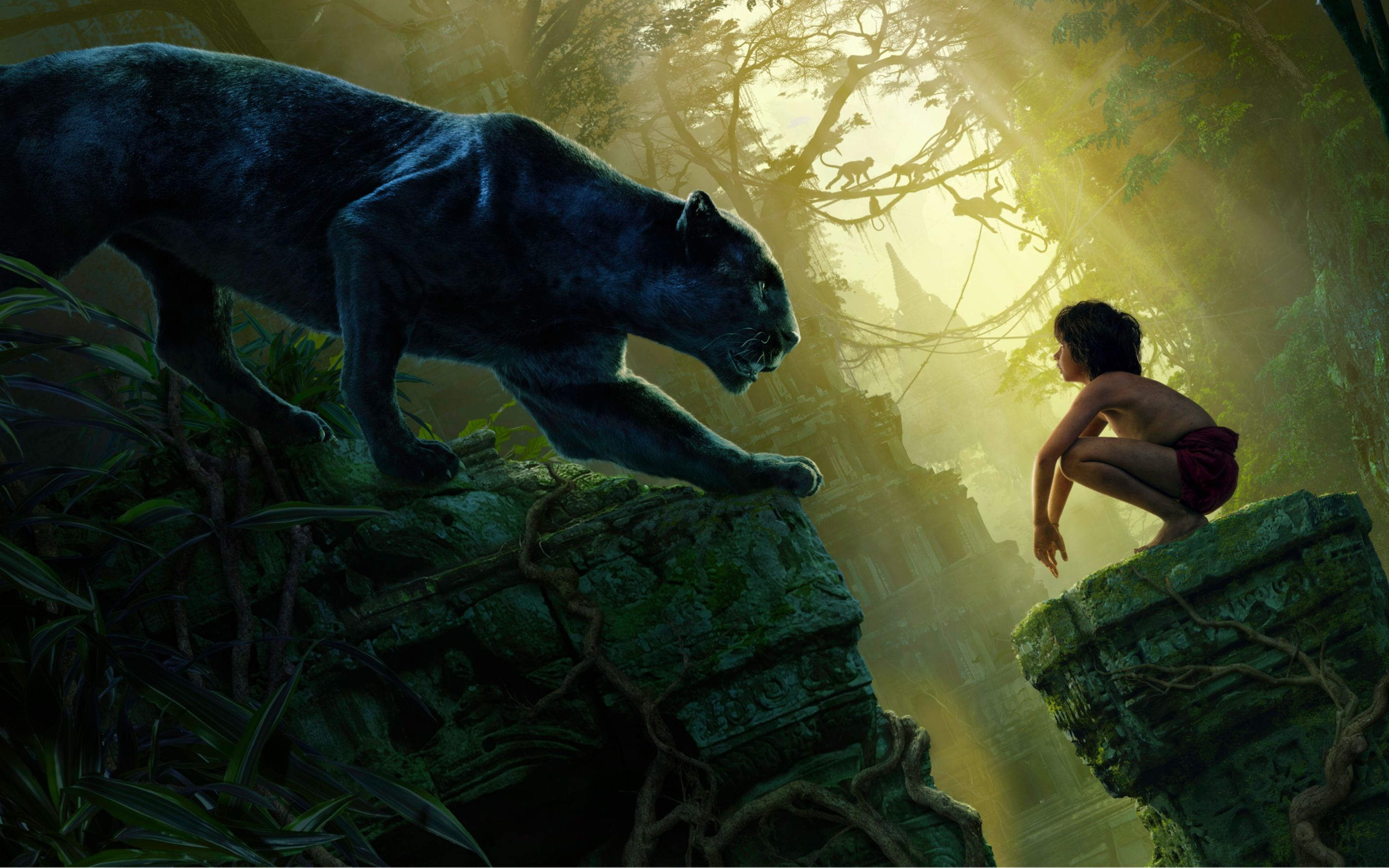 Download free HD Mowgli Bagheera Black Panther The Jungle Book Wide Wallpaper, image