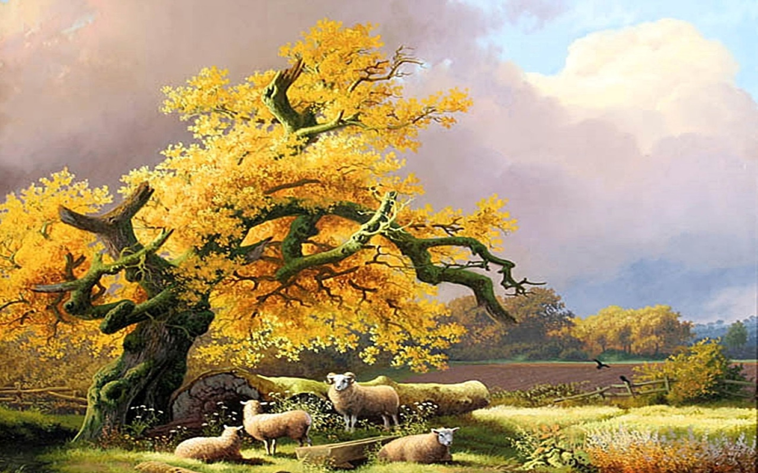 Nature Scene Art Cool Animals Painting Wallpaper: Desktop ... Nature Painting Wallpaper Hd