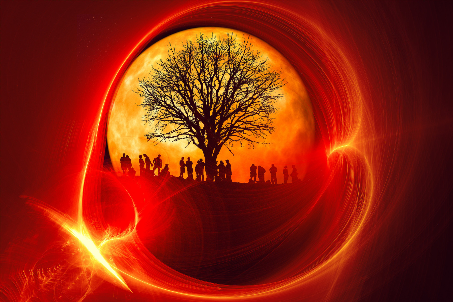 Peoples, Tree and Nature Abstract Wallpaper
