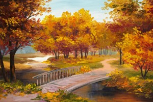 Pictorial Art Autumn Parks Bridges Pond Wallpaper