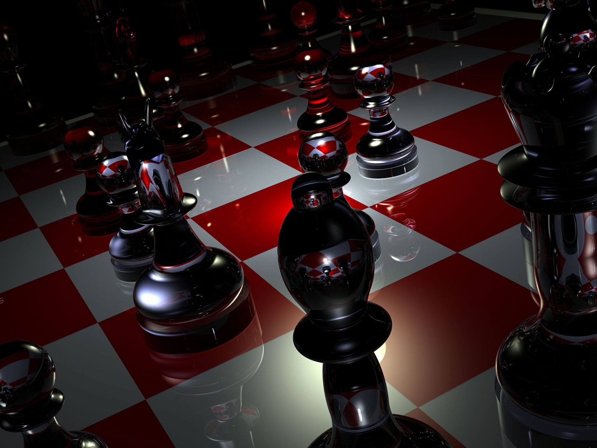 Pieces Chess Boards Glass Wallpaper