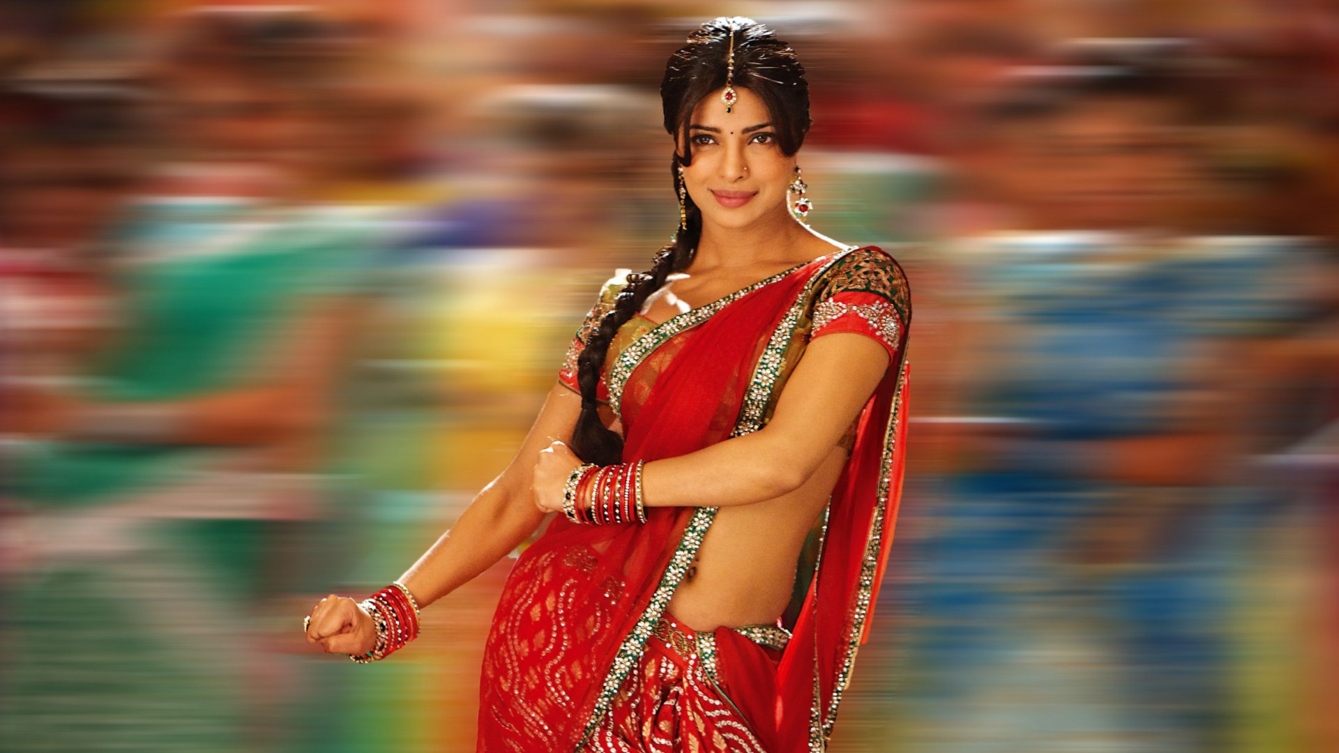 Priyanka Chopra in Saree HD Wallpaper