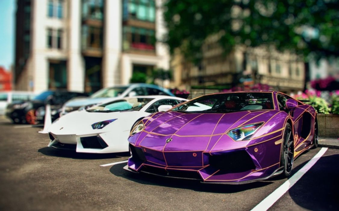 Download free HD Purple Lamborghini Aventador HD Tron Wallpaper, image