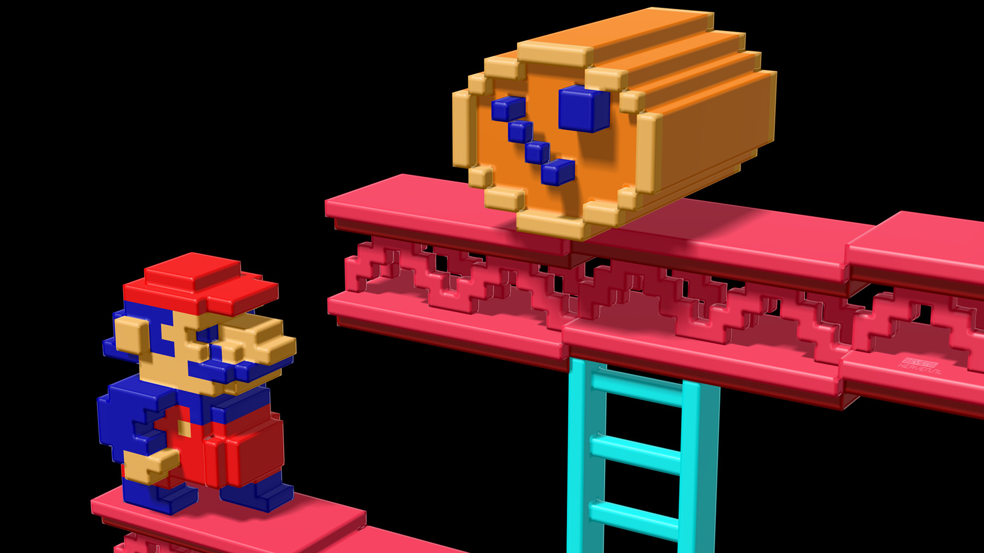 Retro 3D Mario Video Game Desktop Wallpaper